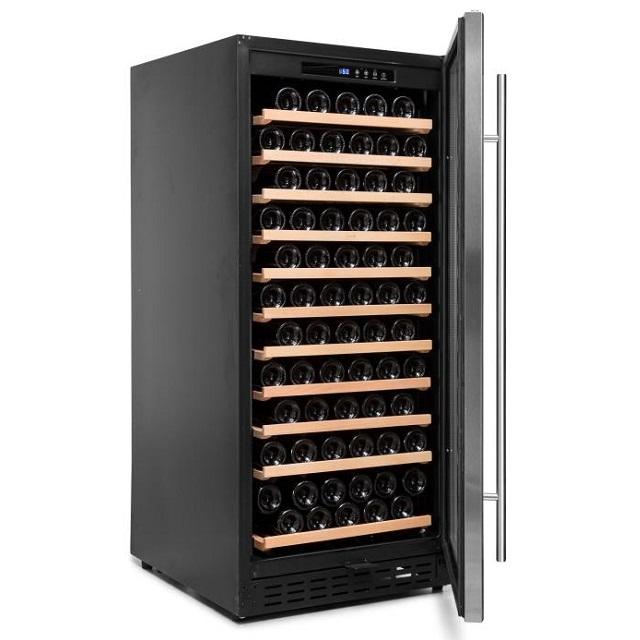 Armario climatizado para vinos Vinobox 110GC 1T inox - de lado puerta abierta