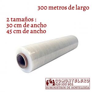 Film transparente adhesivo alimentario 300 metros de largo - 2 tamaños