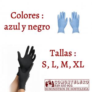 Guantes de nitrilo uso profesional tallas S, M, L, XL- caja de 100 unidades color azul y negro