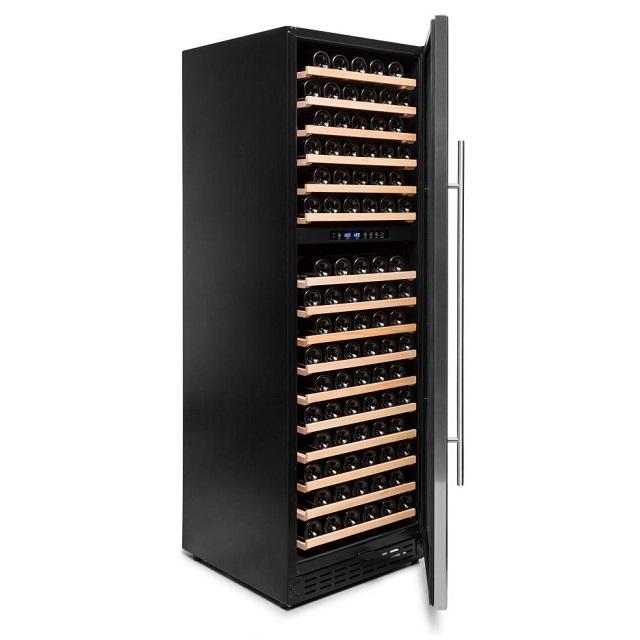 Armario climatizado para vinos Vinobox 168GC 2T inox - de lado puerta abierta