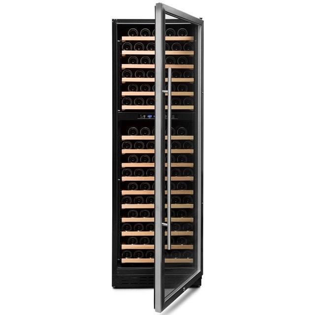 Armario climatizado para vinos Vinobox 168GC 2T inox - puerta abierta