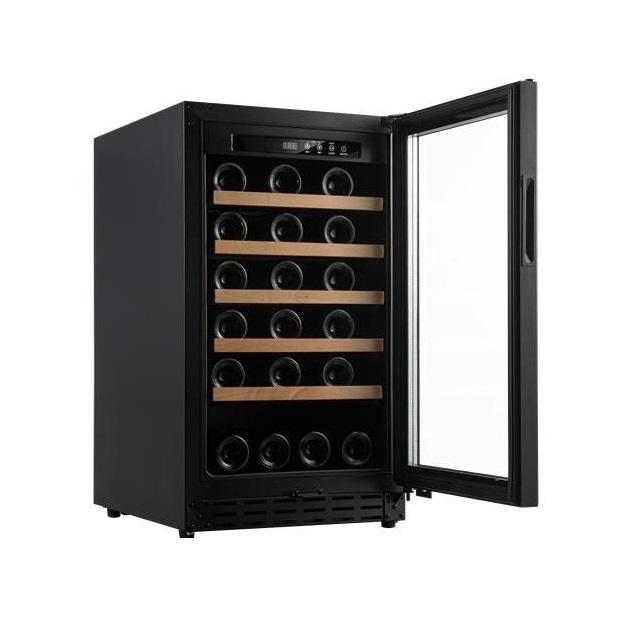 Armario climatizado para vinos Vinobox 40GC 1T color negro puerta abierta