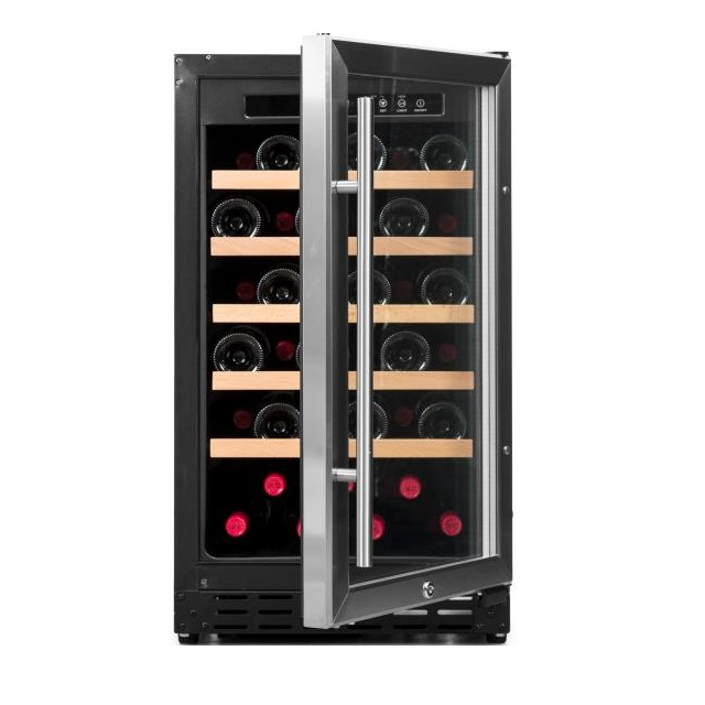 Armario climatizado para vinos Vinobox 40GC 1T inox - de frente puerta abierta