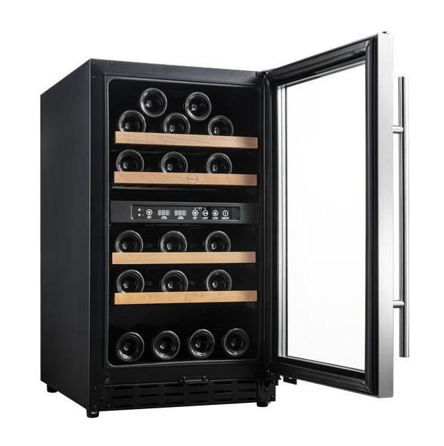 Armario climatizado para vinos Vinobox 40GC 2T inox - puerta abierta
