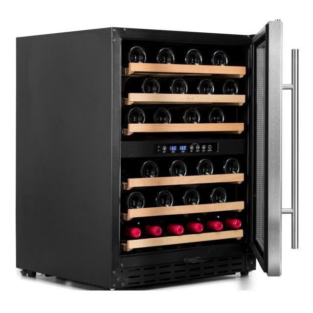 Armario climatizado para vinos Vinobox 50GC 2T inox - de lado puerta abierta