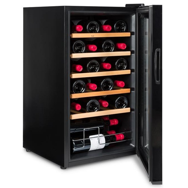 Nevera para vinos económica - Vinobox 24PRO - de lado con puerta abierta
