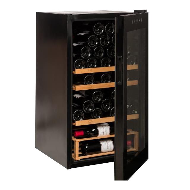 Nevera para vinos económica - Vinobox 48PRO - de lado con la puerta abierta