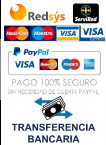 Pago seguro con TPV Virtual, Paypal y transferencia bancaria