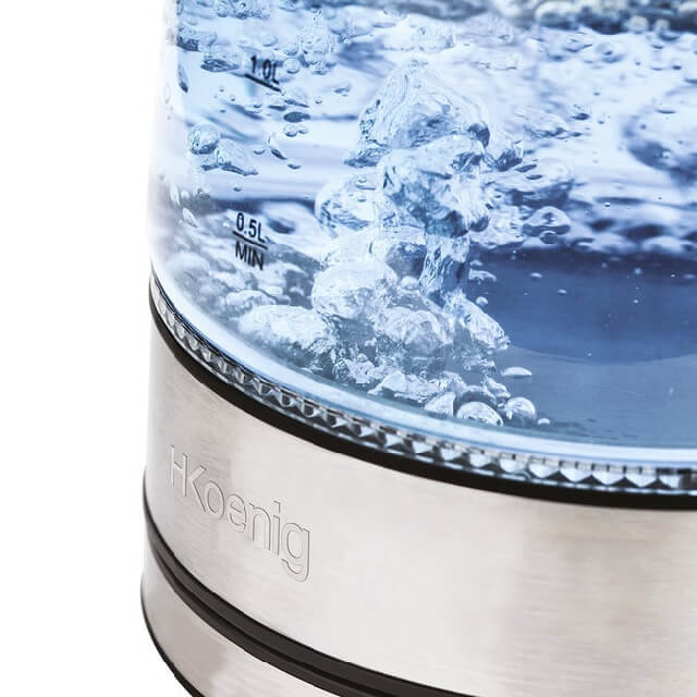 Hervidor de agua eléctrico de cristal con luces led - agua hirviendo