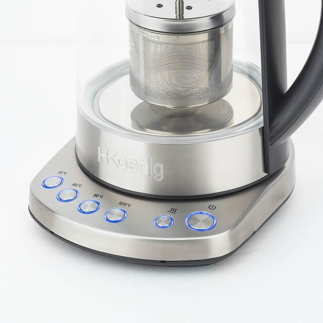 Infusor de té con temperatura ajustable y capacidad de 1,7 litros - encendido