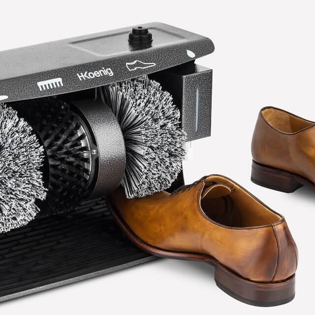 Limpiador de zapatos eléctrico con 2 cepillos de pulido