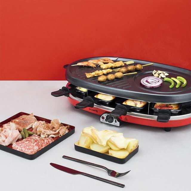 Plancha eléctrica Raclette 4 en 1 para 8 personas HKoenig