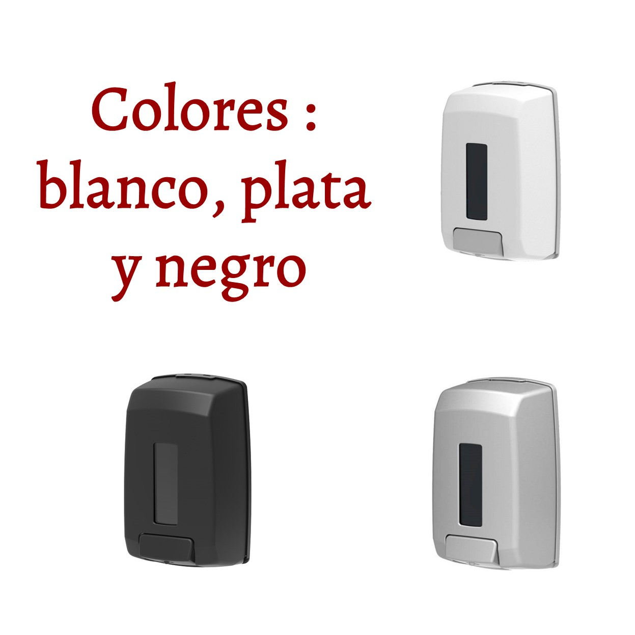 Dispensador de desinfectante para manos y jabón - Style - colores blanco, plata y negro
